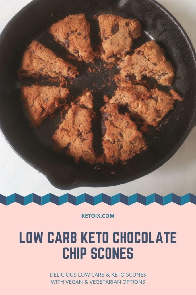 Low carb Keto Chocolate Chip Cast Iron Scones