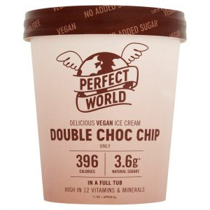 Perfect world ice cream, double choc chip flavour